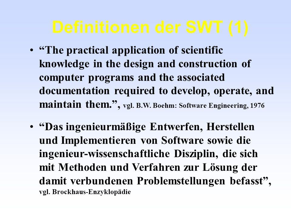 Definitionen der SWT (1)