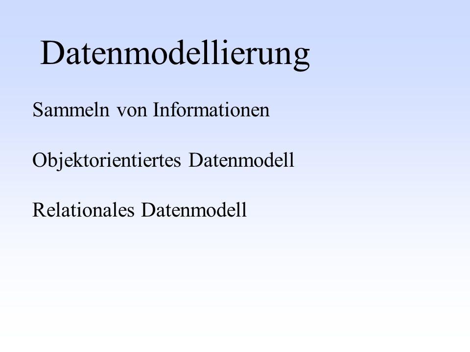 Datenmodellierung Sammeln von Informationen