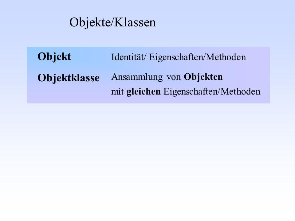 Objekte/Klassen Objekt Objektklasse Identität/ Eigenschaften/Methoden