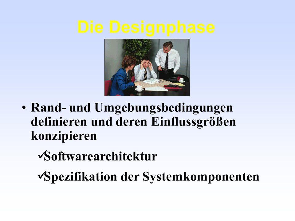 Die Designphase Rand- und Umgebungsbedingungen definieren und deren Einflussgrößen konzipieren. Softwarearchitektur.