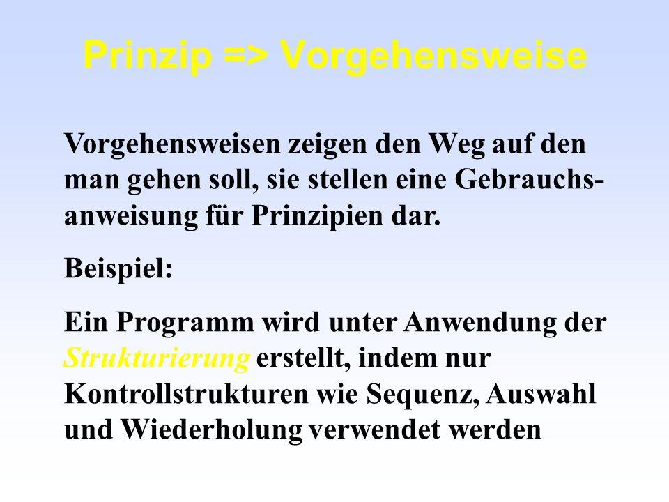 Prinzip => Vorgehensweise