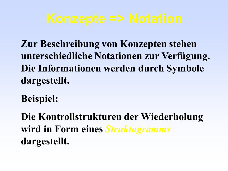 Konzepte => Notation