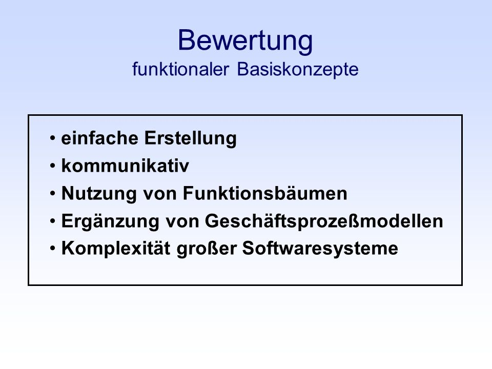 Bewertung funktionaler Basiskonzepte