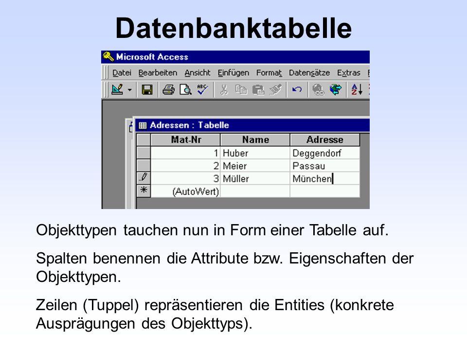 Datenbanktabelle Objekttypen tauchen nun in Form einer Tabelle auf.