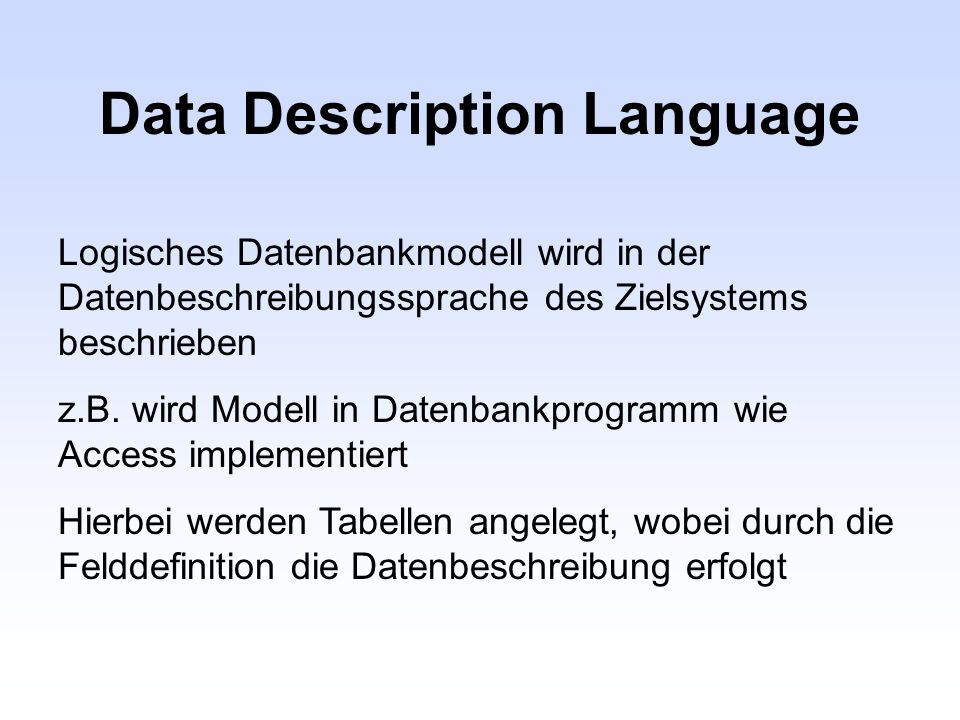 Data Description Language