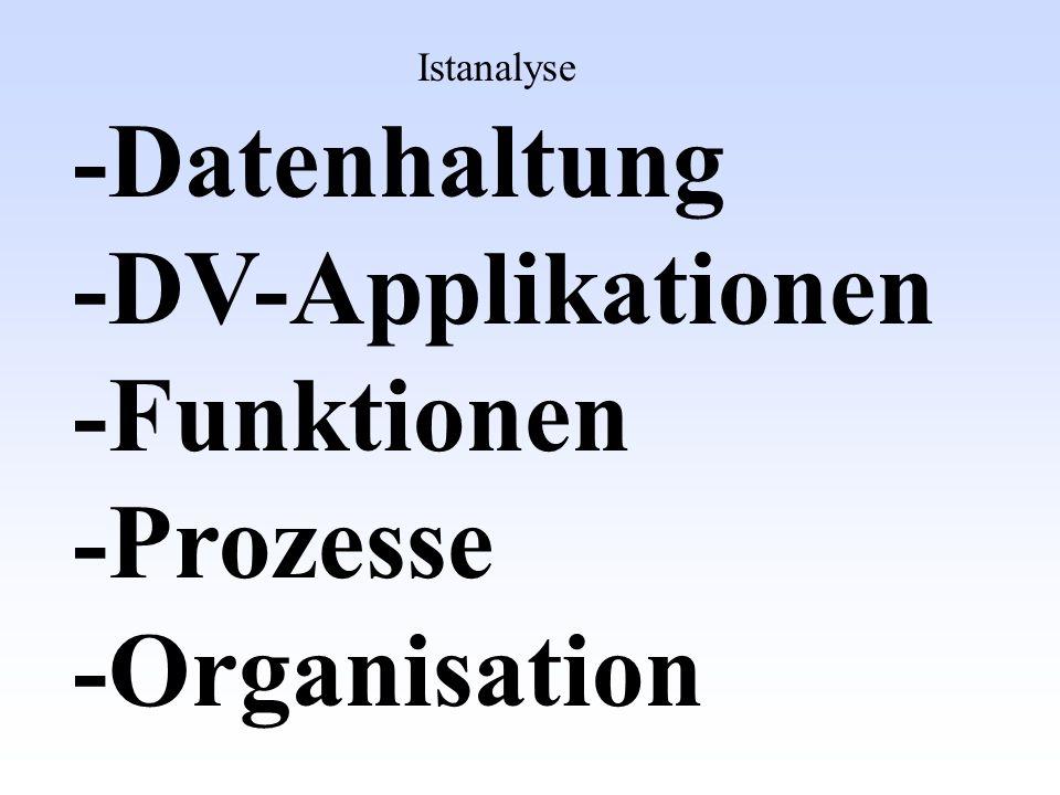 -Datenhaltung -DV-Applikationen -Funktionen -Prozesse -Organisation