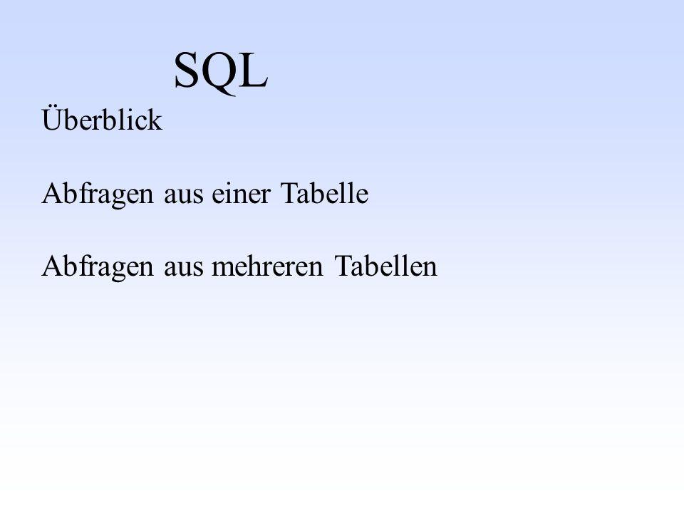 SQL Überblick Abfragen aus einer Tabelle