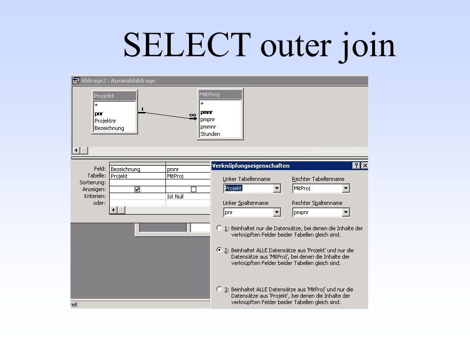 SELECT outer join