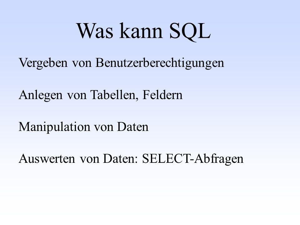 Was kann SQL Vergeben von Benutzerberechtigungen