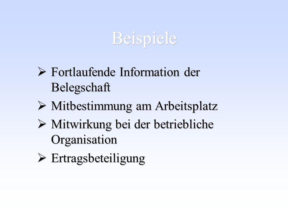 Beispiele Fortlaufende Information der Belegschaft