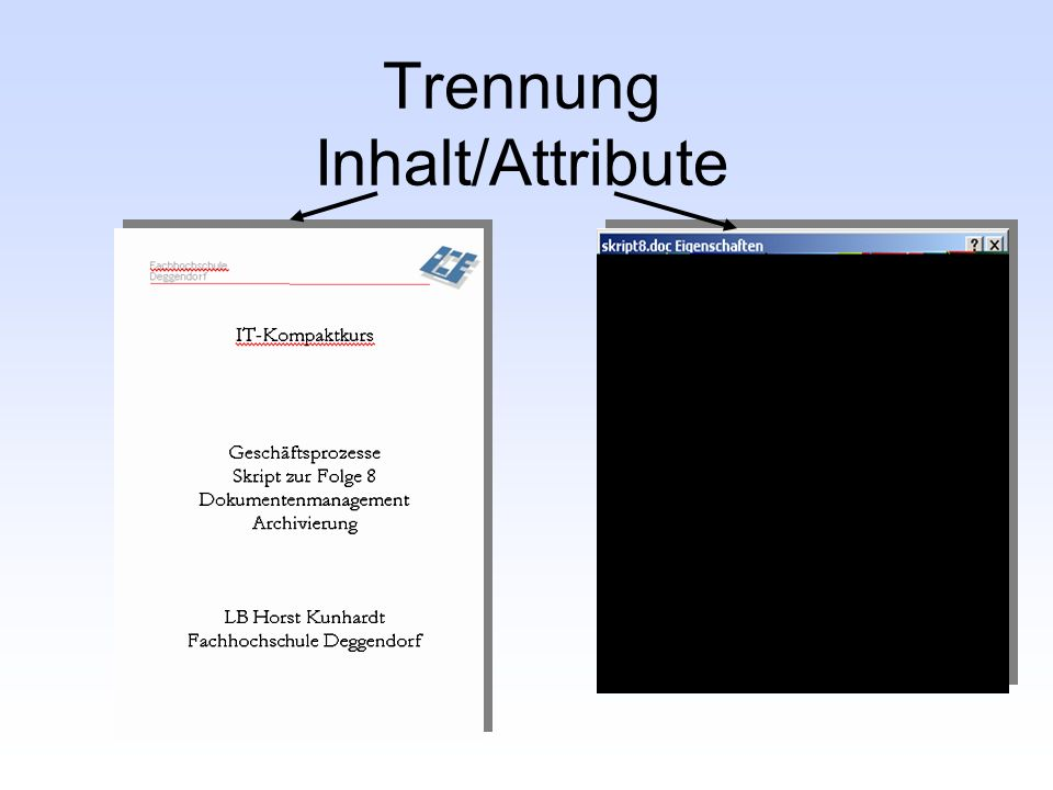 Trennung Inhalt/Attribute