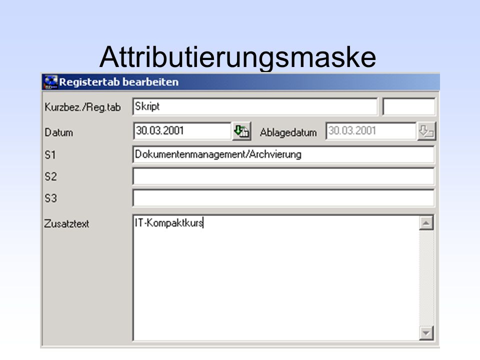 Attributierungsmaske