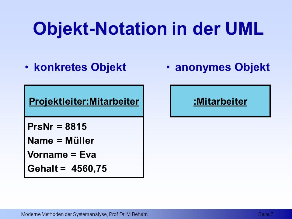 Objekt-Notation in der UML