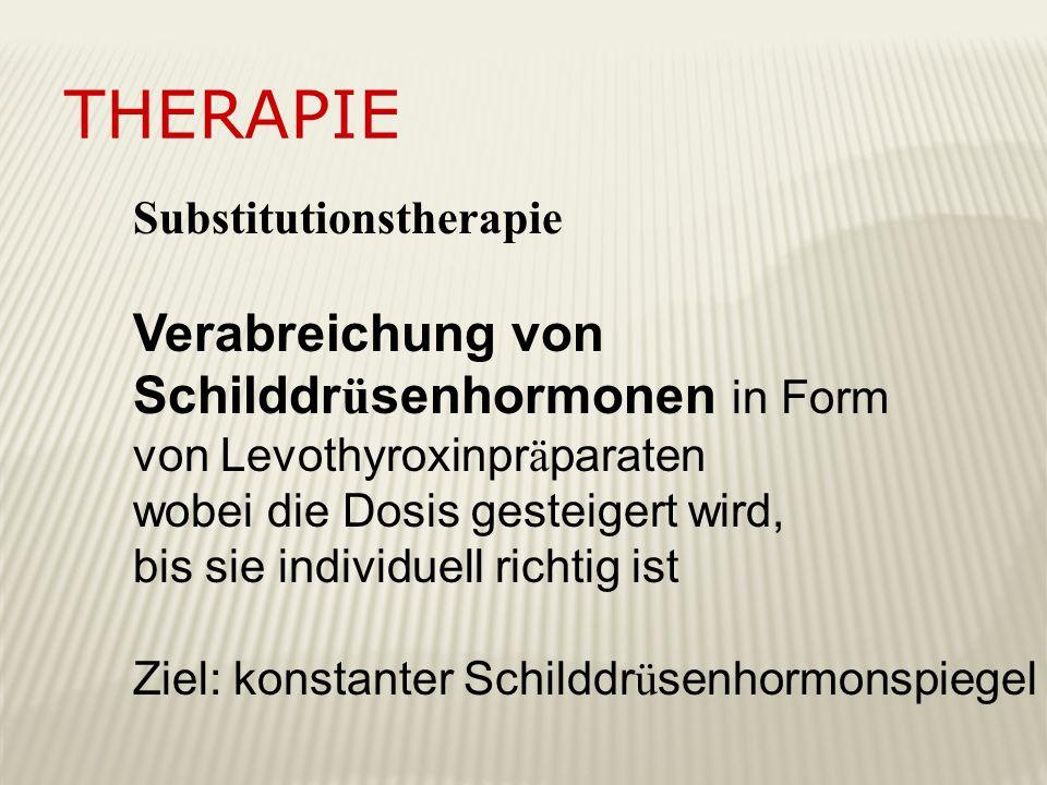 Therapie Verabreichung von Schilddrüsenhormonen in Form