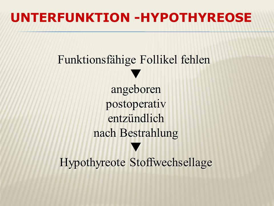 UNTERFUNKTION -Hypothyreose