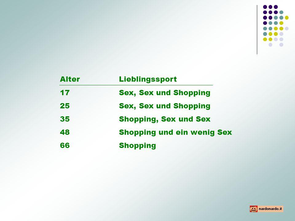 Alter Lieblingssport 17 Sex, Sex und Shopping. 25 Sex, Sex und Shopping. 35 Shopping, Sex und Sex.