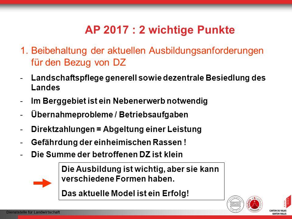 AP 2017 : 2 wichtige Punkte Beibehaltung der aktuellen Ausbildungsanforderungen für den Bezug von DZ.