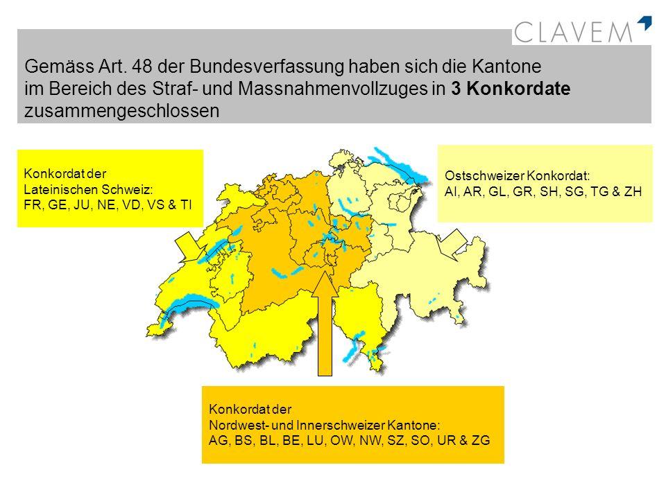 Gemäss Art. 48 der Bundesverfassung haben sich die Kantone im Bereich des Straf- und Massnahmenvollzuges in 3 Konkordate zusammengeschlossen
