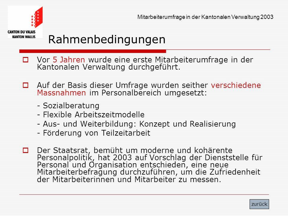 Rahmenbedingungen Vor 5 Jahren wurde eine erste Mitarbeiterumfrage in der Kantonalen Verwaltung durchgeführt.
