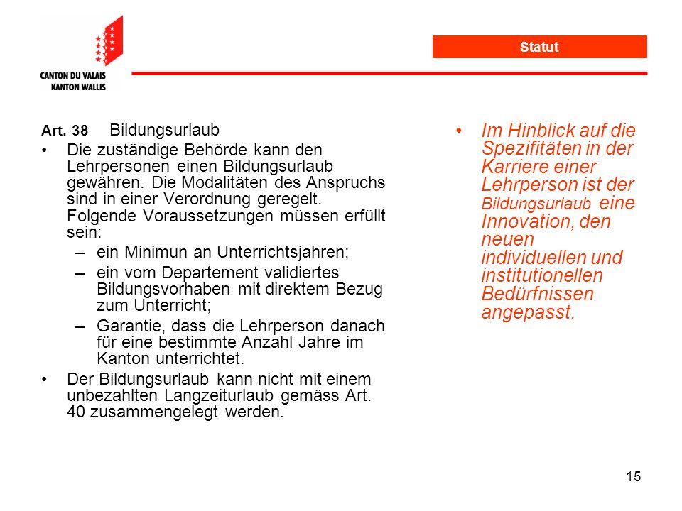 Statut Art. 38 Bildungsurlaub.