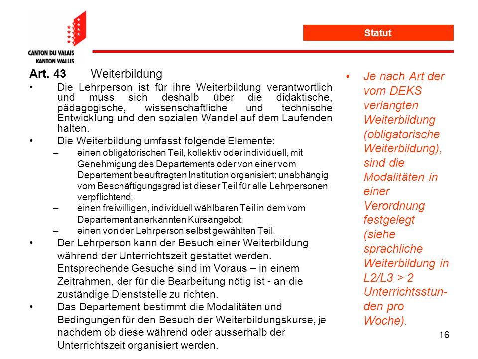 Statut Art. 43 Weiterbildung.