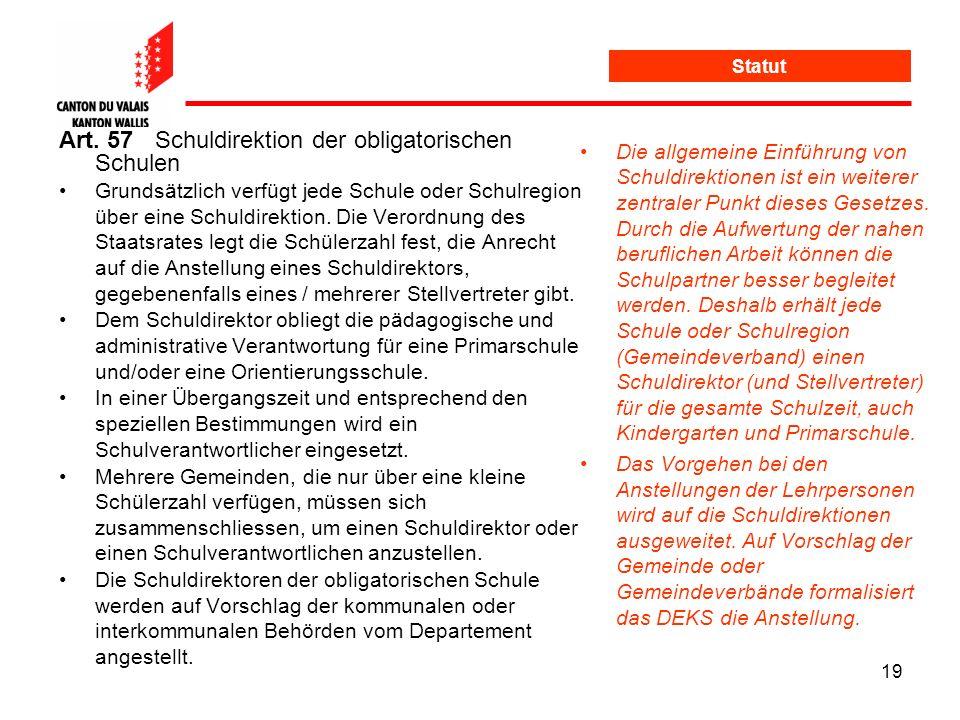 Art. 57 Schuldirektion der obligatorischen Schulen