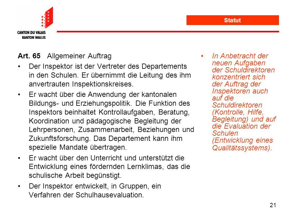 Art. 65 Allgemeiner Auftrag
