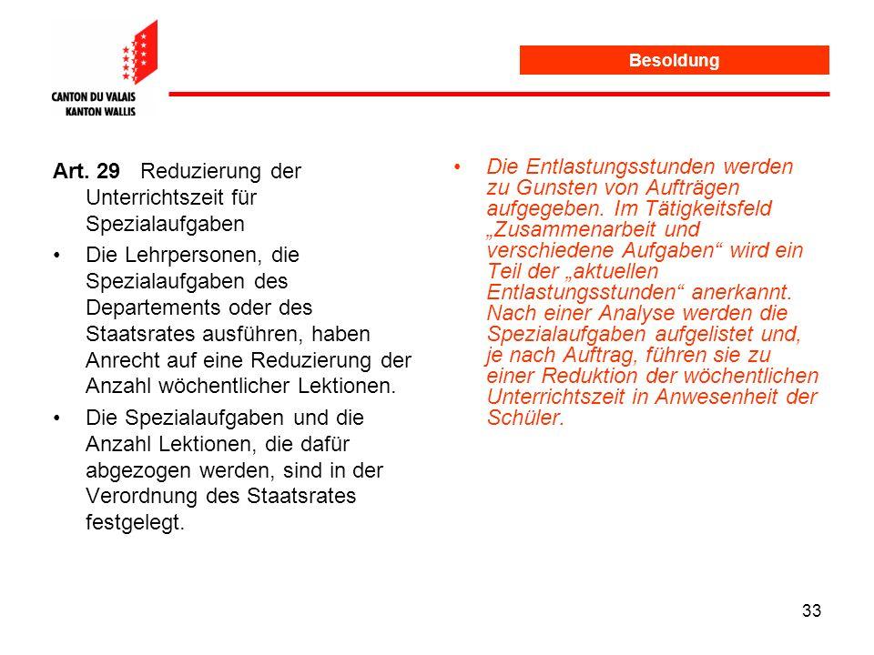 Art. 29 Reduzierung der Unterrichtszeit für Spezialaufgaben