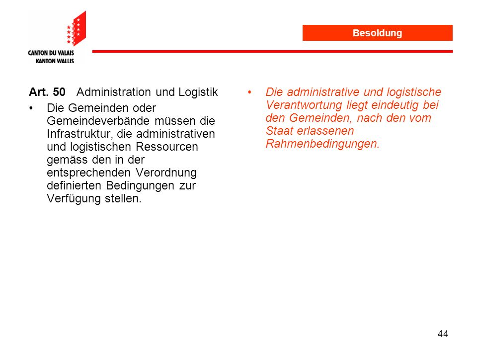 Art. 50 Administration und Logistik