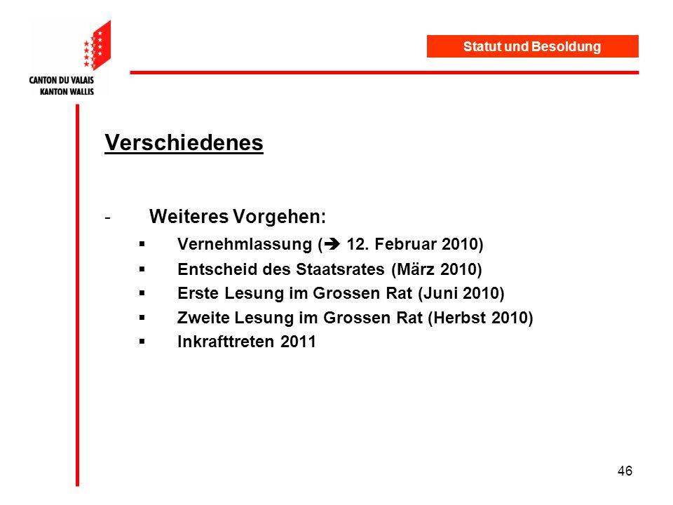 Verschiedenes Weiteres Vorgehen: Vernehmlassung ( 12. Februar 2010)