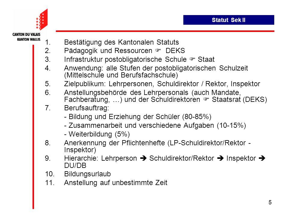 Bestätigung des Kantonalen Statuts Pädagogik und Ressourcen  DEKS