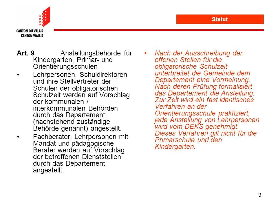 Statut Art. 9 Anstellungsbehörde für Kindergarten, Primar- und Orientierungsschulen.
