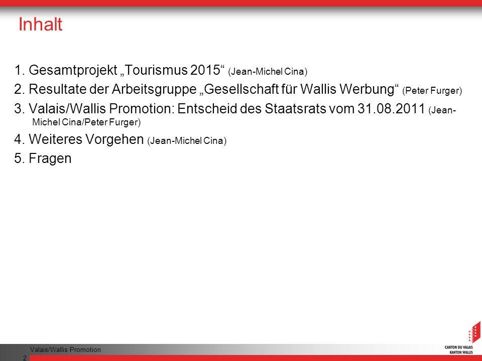 """Inhalt 1. Gesamtprojekt """"Tourismus 2015 (Jean-Michel Cina)"""