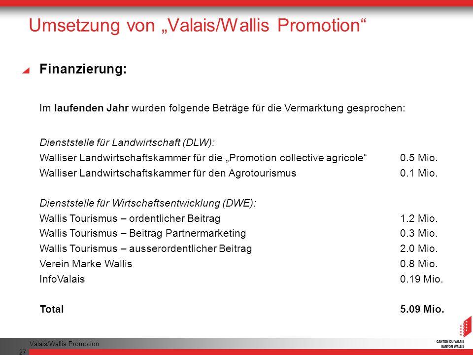 "Umsetzung von ""Valais/Wallis Promotion"
