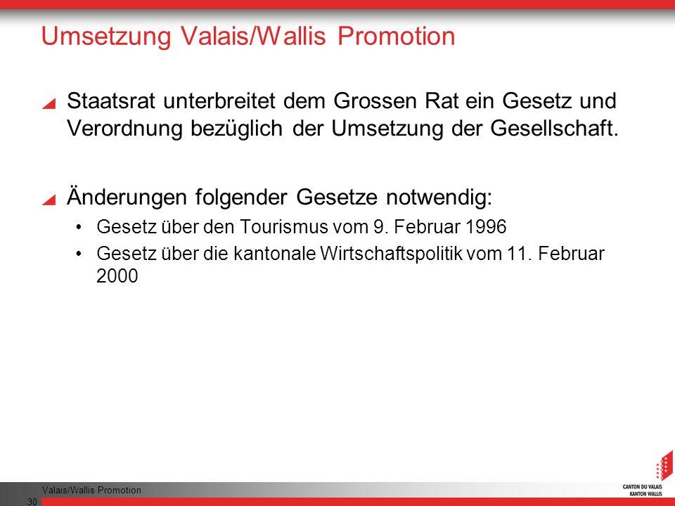 Umsetzung Valais/Wallis Promotion