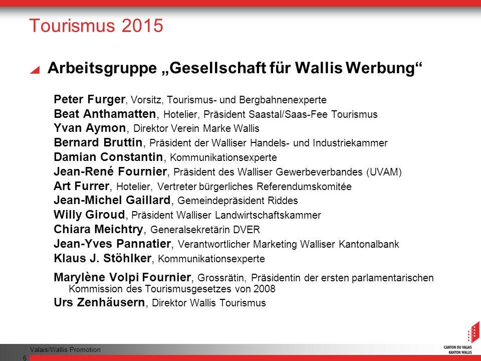 """Tourismus 2015 Arbeitsgruppe """"Gesellschaft für Wallis Werbung"""