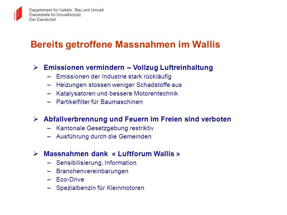 Bereits getroffene Massnahmen im Wallis
