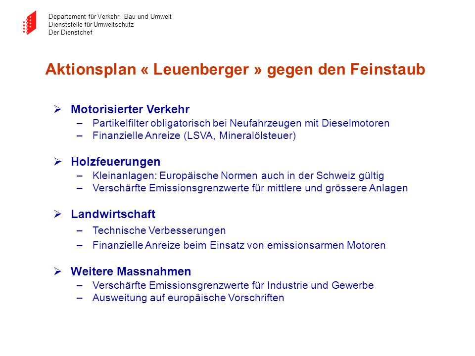 Aktionsplan « Leuenberger » gegen den Feinstaub