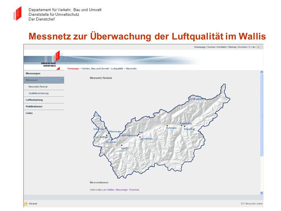 Messnetz zur Überwachung der Luftqualität im Wallis