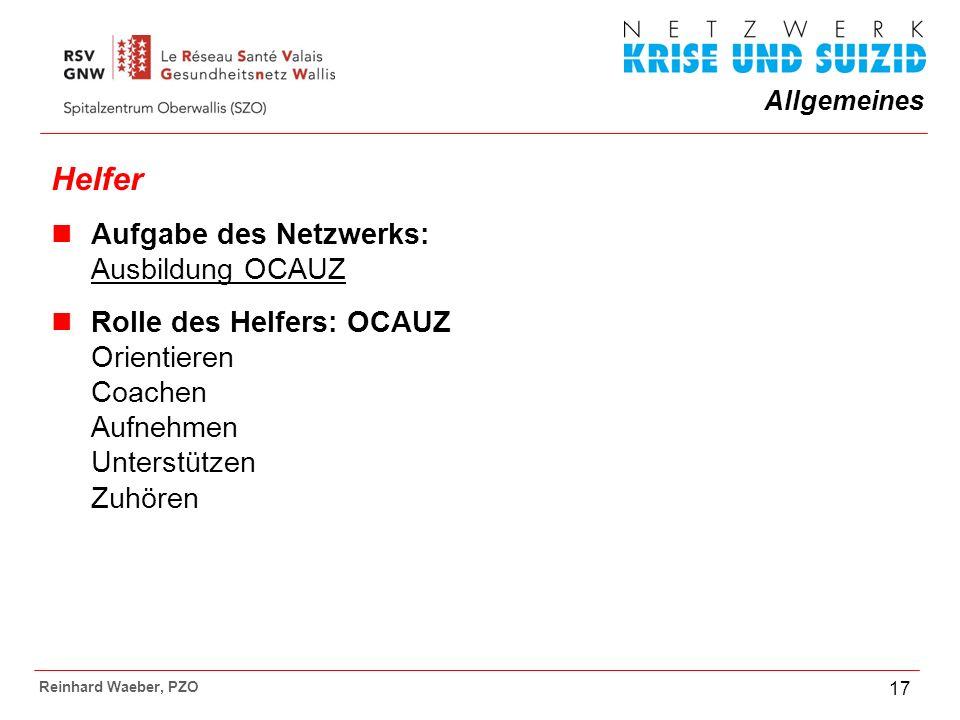 Helfer Aufgabe des Netzwerks: Ausbildung OCAUZ