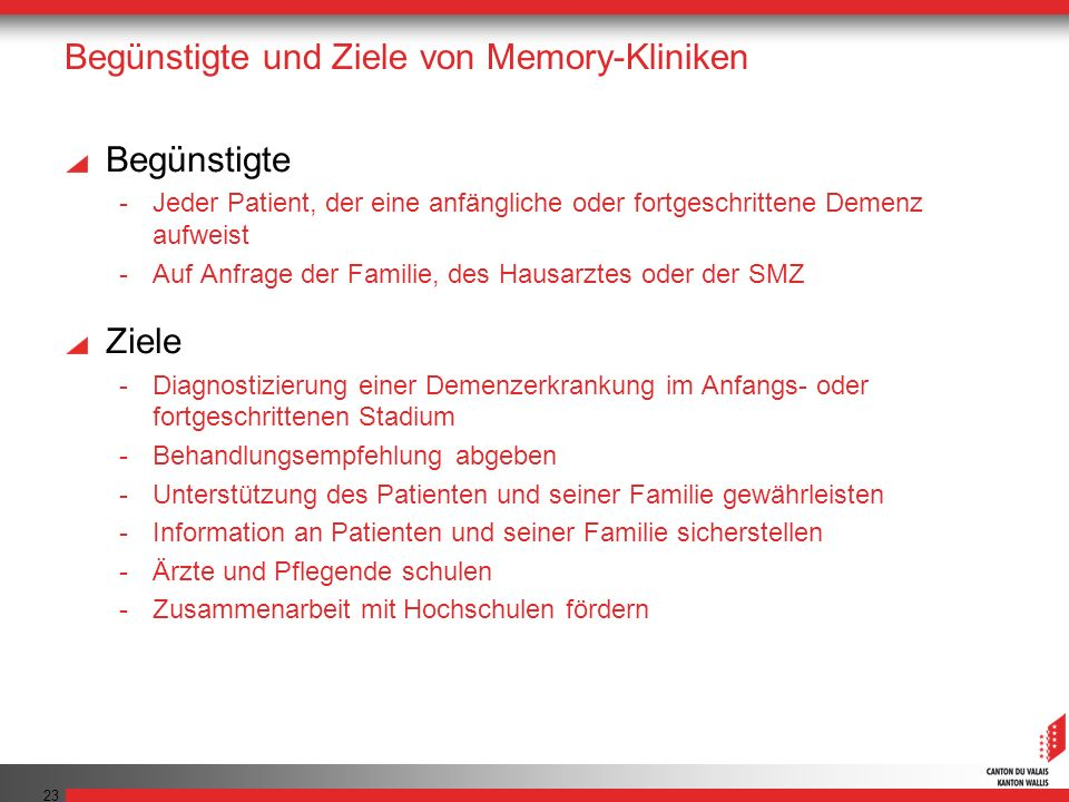 Begünstigte und Ziele von Memory-Kliniken