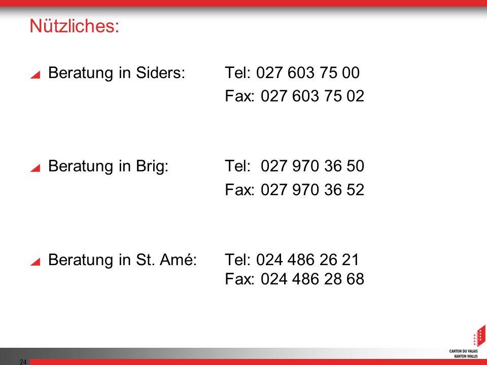 Nützliches: Beratung in Siders: Tel: 027 603 75 00 Fax: 027 603 75 02