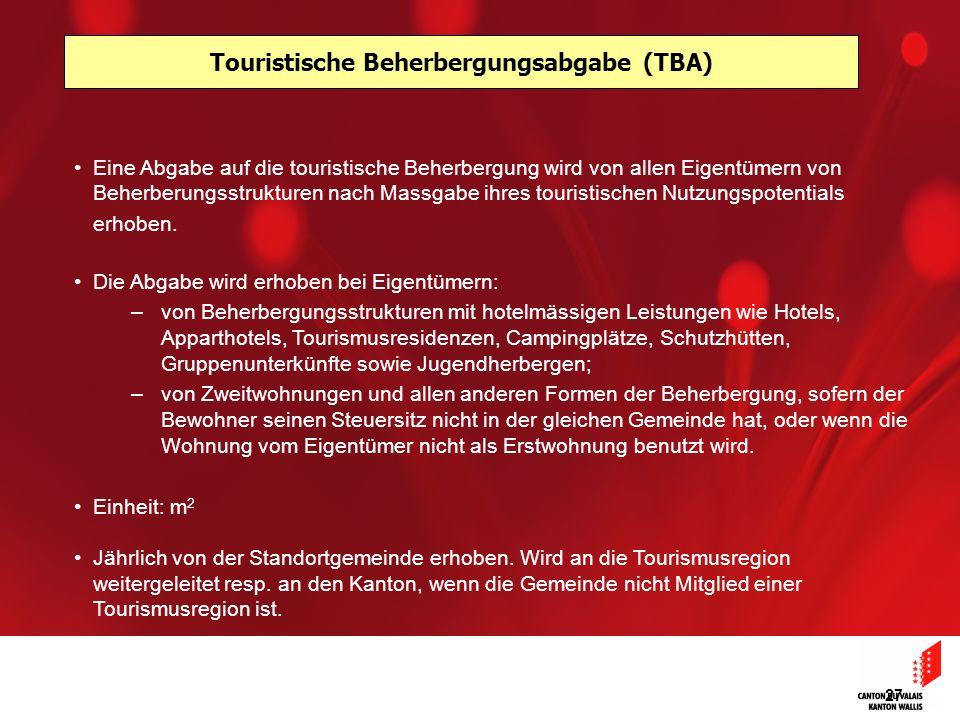 Touristische Beherbergungsabgabe (TBA)