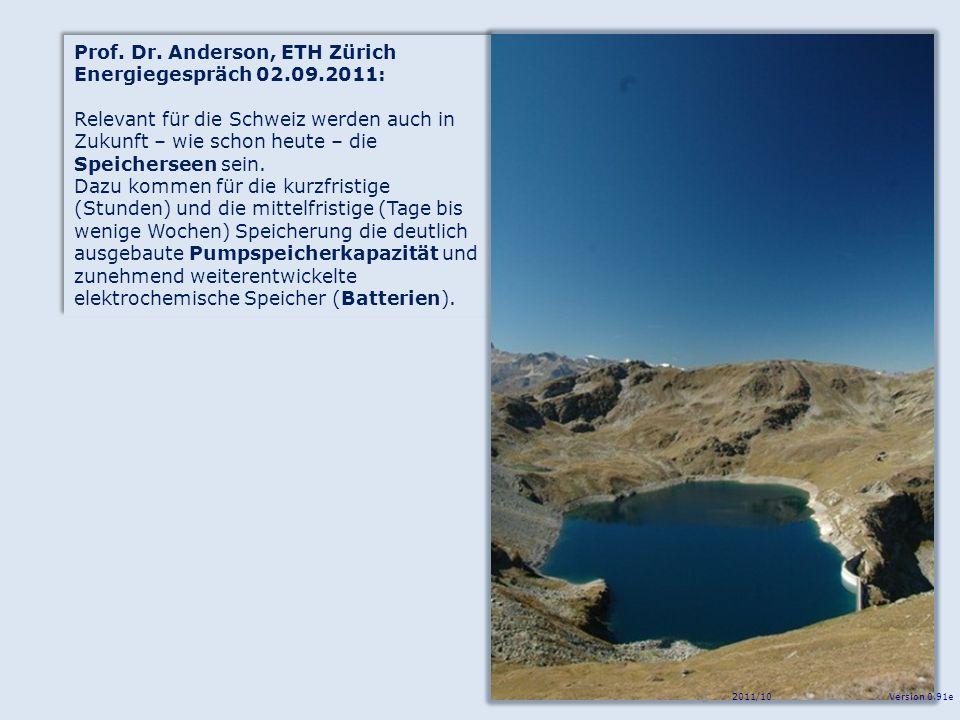 Prof. Dr. Anderson, ETH Zürich Energiegespräch 02.09.2011: