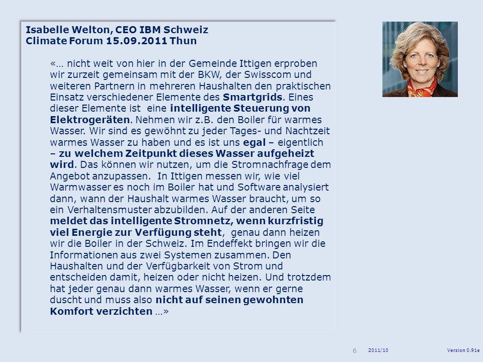 Isabelle Welton, CEO IBM Schweiz Climate Forum 15.09.2011 Thun
