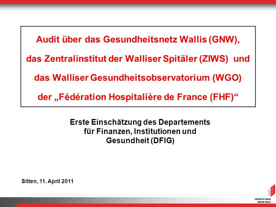 """Audit über das Gesundheitsnetz Wallis (GNW), das Zentralinstitut der Walliser Spitäler (ZIWS) und das Walliser Gesundheitsobservatorium (WGO) der """"Fédération Hospitalière de France (FHF)"""