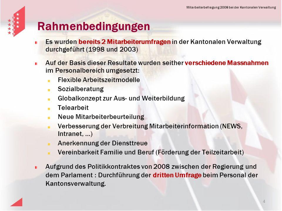 Rahmenbedingungen Es wurden bereits 2 Mitarbeiterumfragen in der Kantonalen Verwaltung durchgeführt (1998 und 2003)