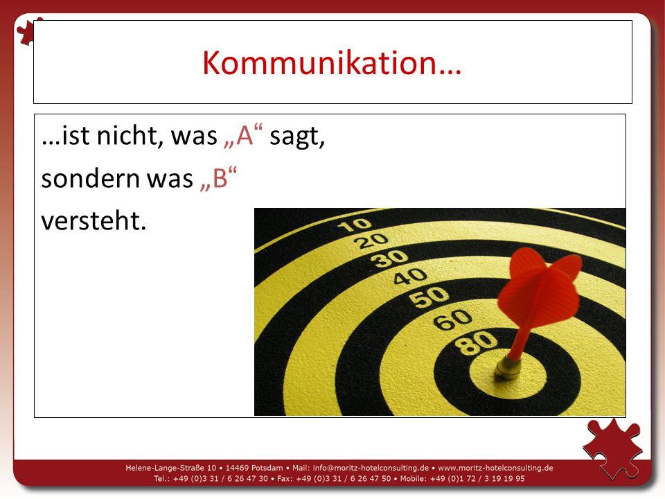 """Kommunikation… …ist nicht, was """"A sagt, sondern was """"B versteht."""