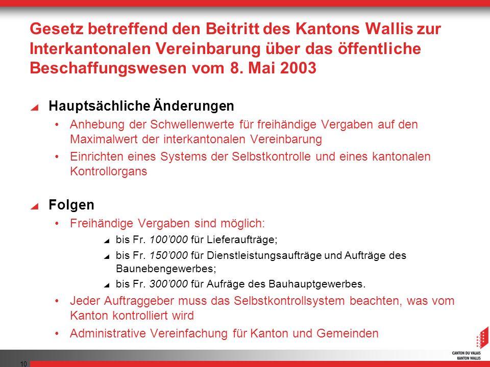 Gesetz betreffend den Beitritt des Kantons Wallis zur Interkantonalen Vereinbarung über das öffentliche Beschaffungswesen vom 8. Mai 2003