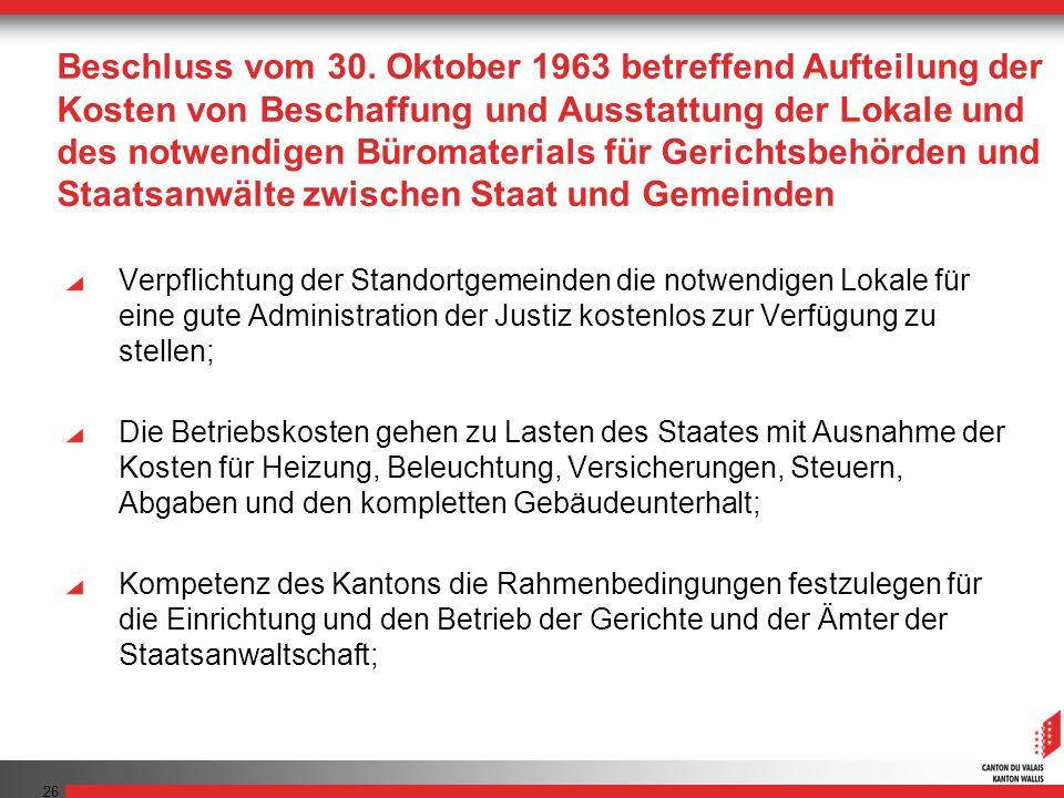 Beschluss vom 30. Oktober 1963 betreffend Aufteilung der Kosten von Beschaffung und Ausstattung der Lokale und des notwendigen Büromaterials für Gerichtsbehörden und Staatsanwälte zwischen Staat und Gemeinden